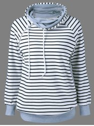 Zipper Embellished Striped Sweatshirt