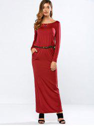 Long Sleeve Belted Maxi Dress with Pockets
