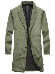 Turn-Down Collar Single-Breasted Lengthen Wind Coat - ARMY GREEN