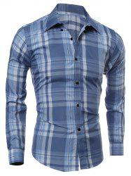 Tartan Pattern Turn-Down Collar Long Sleeve Shirt