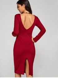 Long Sleeve Backless Slit Pencil Cocktail Dress - RED S