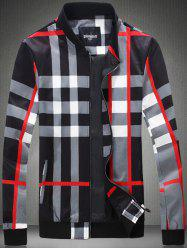 Color Block Checked Print Zip-Up Jacket - BLACK 5XL
