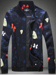 Plus Size 3D Butterfly Print Zip-Up Jacket -