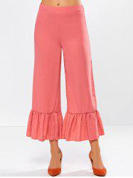 Frilled High Rise Wide Leg Pants