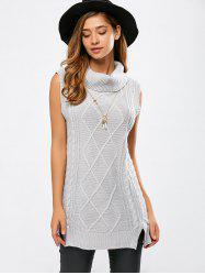 Turtle Neck Sleeveless Cable Knit Sweater -