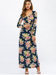 Long Sleeve Floral Kimono Wrap Maxi Dress