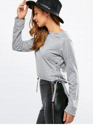 Crew Neck Side Lace Up T-Shirt -