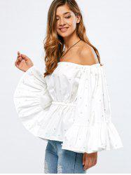 Off Shoulder Flare Sleeve Beaded Ruffle Peplum Top