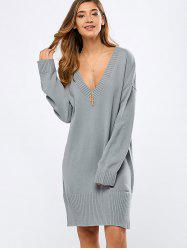 V Neck Long Sleeve Tunic Sweater Dress