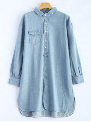 Long Sleeve Denim Shirt Dress -