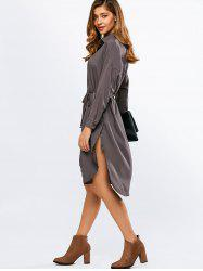 Long Sleeve Slit Belted Boyfriend Button Up Shirt Dress - GRAY