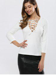 Fitting Lace-Up T-Shirt - WHITE 2XL