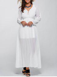 Long Sleeve V Neck Chiffon Casual Maxi Dress - WHITE