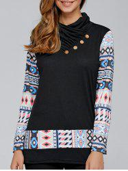 Geometric Pullover Knit Sweatshirt - BLACK XL