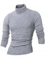 Rhombus Jacquard Turtle Neck Long Sleeves Sweater - GRAY XL