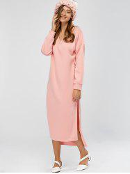 Drop Shoulder High Slit Sweatshirt Dress