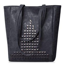 Metallic Stitching PU Leather Shoulder Bag - BLACK