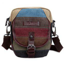 Buckle Striped Pattern Canvas Crossbody Bag