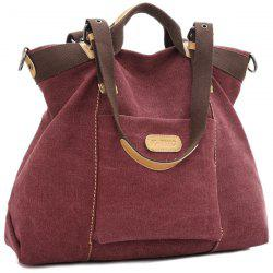 Canvas Buckles Colour Spliced Shoulder Bag - RED VIOLET