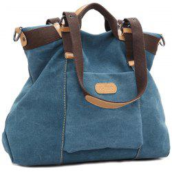 Canvas Buckles Colour Spliced Shoulder Bag - BLUE