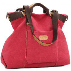 Canvas Buckles Colour Spliced Shoulder Bag
