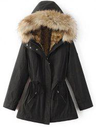 Faux Fur Lined Coat - BLACK