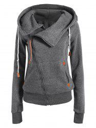 Casual Style Solid Color Long Sleeves Hoodie For Women - DEEP GRAY