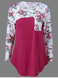 Casual Single Pocket Floral Trim T-Shirt