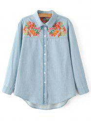 Oversized Flower Embroidered Yoke Light Denim Cowboy Shirt - LIGHT BLUE L