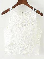 Padded Crochet Crop Top - WHITE