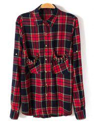Studded Pockets Plaid Shirt -