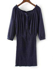 Smocked Blouson Off The Shoulder Dress -