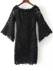 Floral Crochet Lace Dress with Sleeves