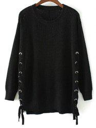 Side Lace Up Open Knit Sweater -
