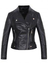Rib Trim PU Leather Short Biker Jacket