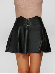 Metal Embellished Faux Leather Skirt -