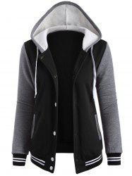 Contrast Sleeve Fleece Baseball Hoodie Jacket - BLACK