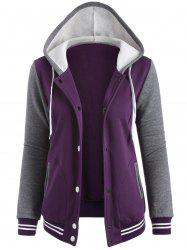 Contrast Sleeve Fleece Baseball Purple Hoodie Jacket - PURPLE