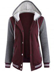 Contrast Sleeve Fleece Baseball Hoodie Jacket - WINE RED