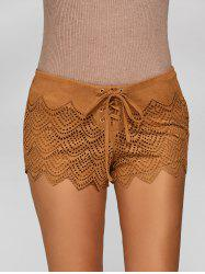 Suede Lace-Up ajouré Shorts - Camel