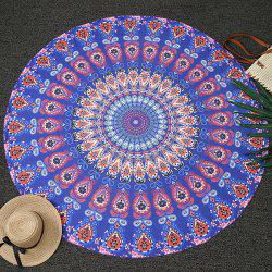 Romantic Bohemia Feather Mandala Vortex Print Round Beach Throw - SAPPHIRE BLUE