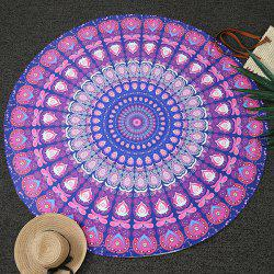 Bohemia Feather Mandala Vortex Print Round Beach Throw - PURPLE