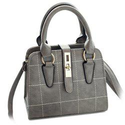 Plaid Pattern Quilted Crossbody Bag - GRAY