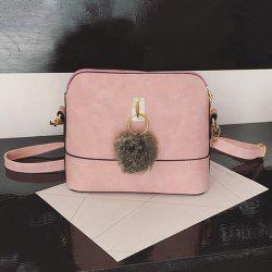 Faux Leather Pom Pom Crossbody Bag - PINK