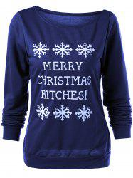 Merry Christmas Bitches Graphic Sweatshirt - DEEP BLUE