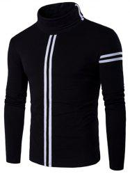 Roll Neck Varsity Stripe Long Sleeve T-Shirt - BLACK