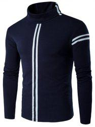 Roll Neck Varsity Stripe Long Sleeve T-Shirt -