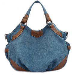 Splicing Canvas Colour Block Tote Bag -