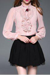 Lace Panel Ruffle Steampunk Blouse with Cami Top -