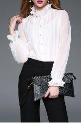 See Thru Lace Insert Ruffle Blouse with Cami Top - WHITE S